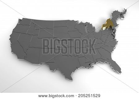 United States of America, 3d metallic map, with New York state highlighted. 3d render