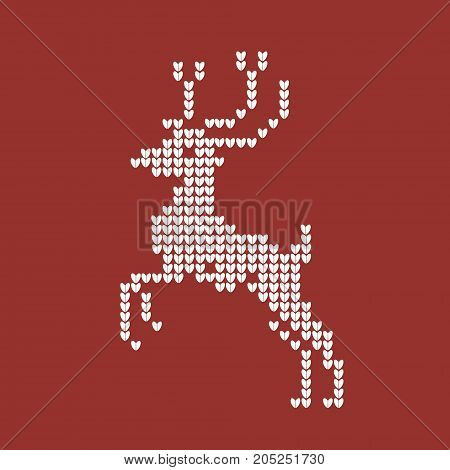 Knitted red Christmas 2018 background with reindeer. vector