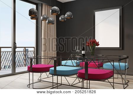 Black Cafe Interior, Blue And Red Chairs Corner
