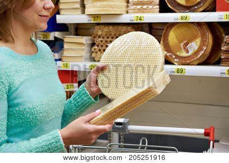 Woman Buys Waffle Cake Layers