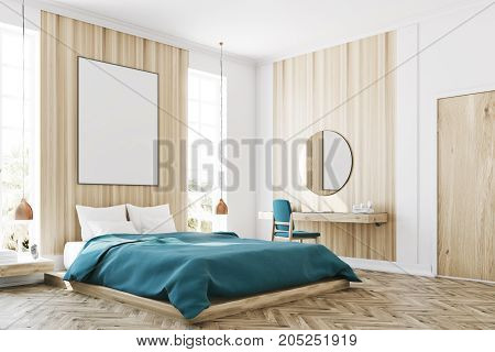 White And Wooden Bedroom, Poster Corner