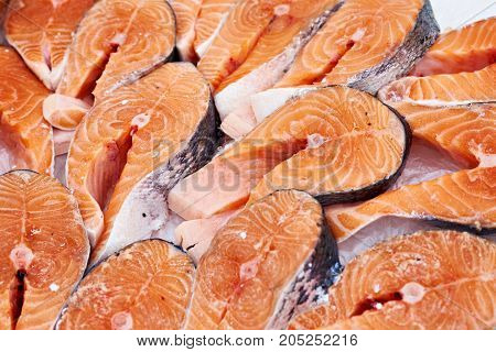 The salmon steak cooled on store shelves