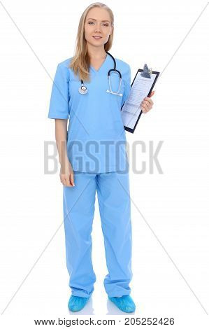 Smiling young nurse portrait isolated over white background. Advertising in medicine and health care