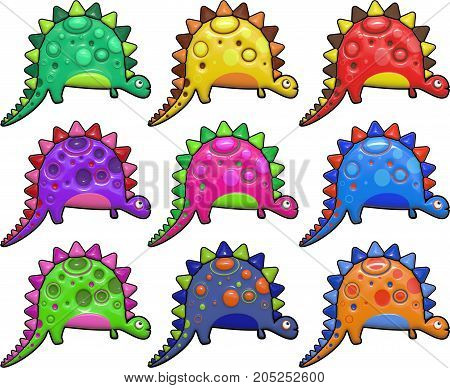 A set of colorful stegosaurus dinosaurs. These images have been designed in a shiny bump style resembling plastic which give a 3d look.