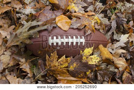 Game time - football buried in fallen leaves