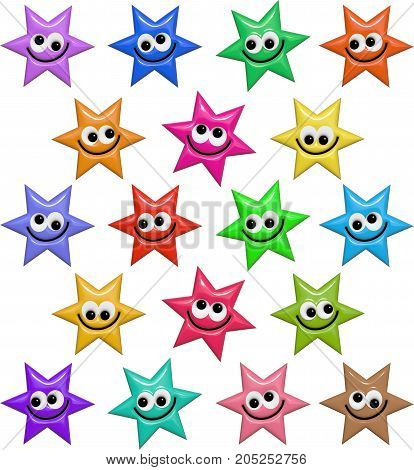 A set of colorful star shapes with happy smiling faces. These images have been designed in a shiny bump style resembling plastic which give a 3d look.