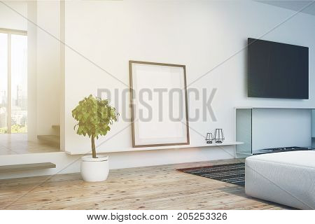 White Living Room, Tv And Poster, Side Toned