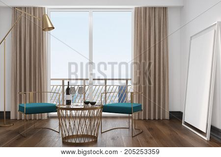 White Living Room Interior, Blue Armchairs