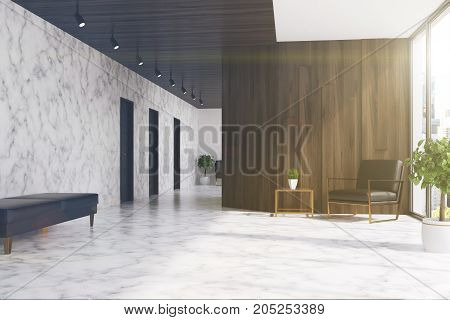 Marble And Wooden Elevator Hall, Armchair Toned
