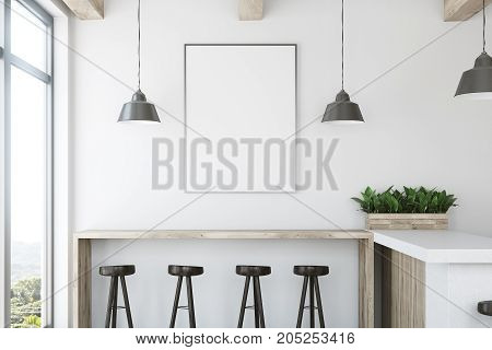 White Wooden Bar, Stand And Poster Closeup