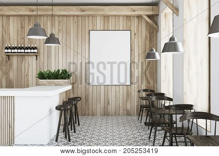 Wooden Bar, White Stand And Tables