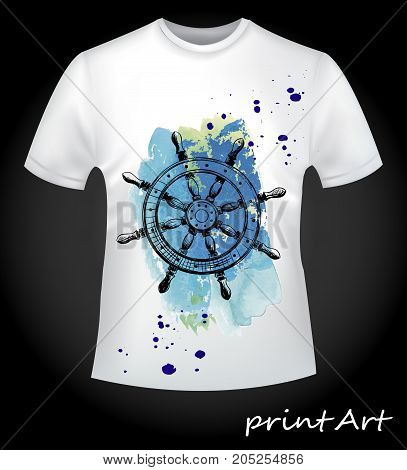A marine wheel on a watercolor background - a stylish idea for a print on a men's t-shirt.