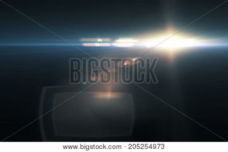 digital lens flare in black background.Beautiful rays of light.Natural flare with dust on space