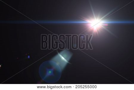Abstract beautiful digital lens flare light and black background.Sunlight effects on space.modern flare and sparkle.