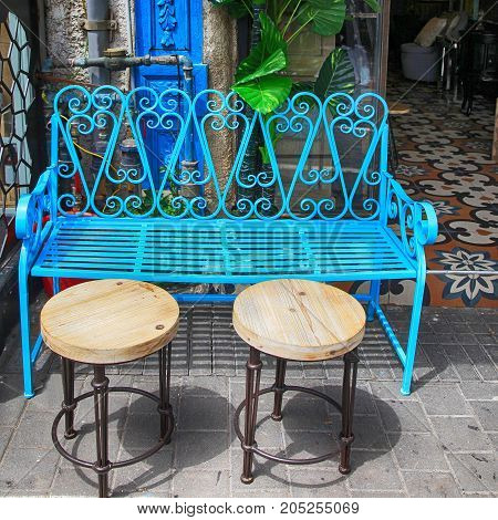 Vintage blue iron furniture at Jaffa flea market district in Tel Aviv-Jaffa, Israel. Square image