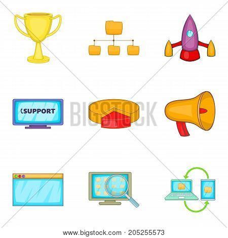 Excellent support icons set. Cartoon set of 9 excellent support vector icons for web isolated on white background