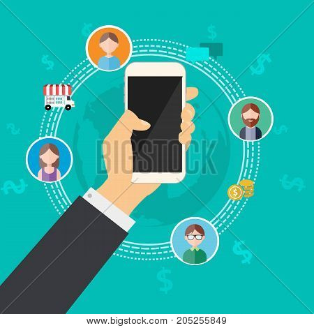 Business connection with mobile phone vector illustration.Business hand holding phone with money world connecting people.Communication money online and business online concept