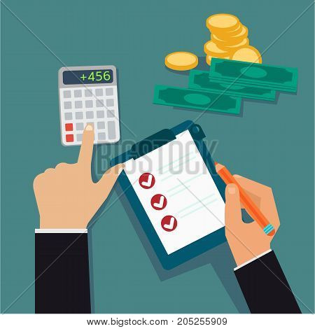 Flat business hands checking board and calculated cost profit with money vector illustration.Financial concept vector.
