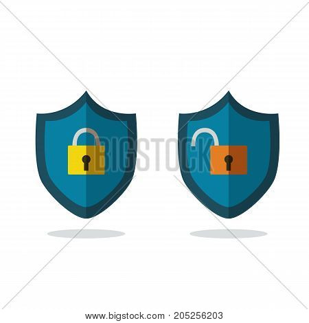 Flat safety icons isolated white vector.Lock and unlock icon vector illustration.security concept icons.