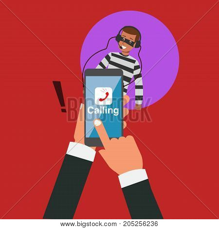 Business hand calling with application but hacker eavesdropping vector illustration.Robbery online business concept.Hacker spy listen your phoning.