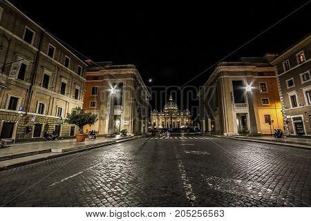 ROME ITALY - AUGUST 2017: Night view on San Pietro Basilica from via Della Conciliazione.