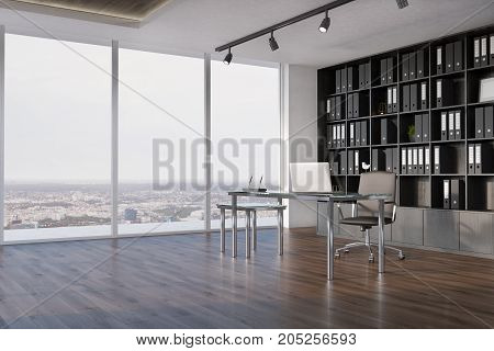 Ceo Office Interior, Bookcase Side View