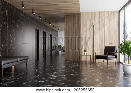 Black Marble And Wooden Elevator Hall, Armchair
