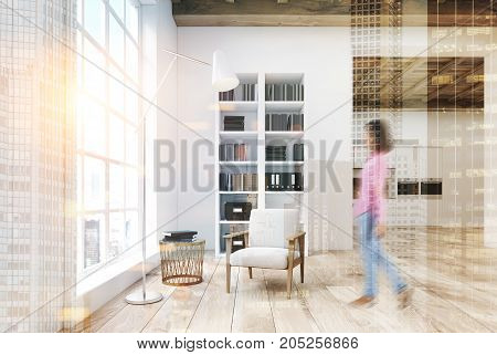 White Living Room With A Bookcase Toned