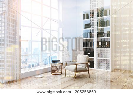 White Living Room With A Bookcase, Side View Toned