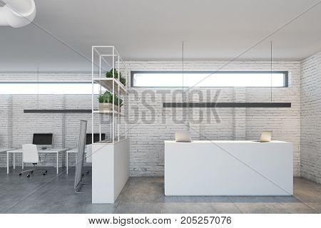 White Brick Office, White Reception