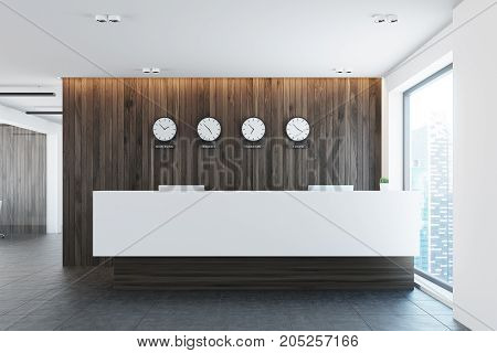 Reception Table And World Time Clocks