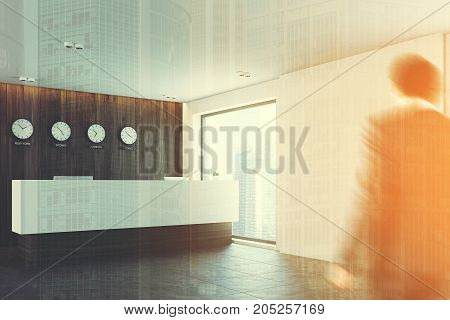 White and wooden office lobby with a long reception counter and clocks showing world time on a wall. Poeple side view. 3d rendering mock up toned image double expsoure