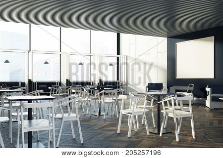 Loft Cafe Black Tables, White Chairs, Poster