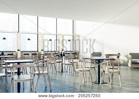 Loft Cafe Black Tables, Wooden Chairs, Corner