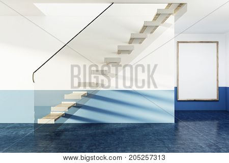 White And Glass Stairs In Blue Flat, Poster