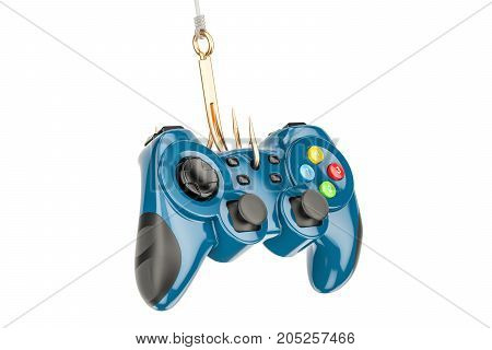 Gambling Addiction concept fishing hook gamepad. 3D rendering isolated on white background