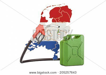 Production and trade of petrol in Netherlands concept. 3D rendering isolated on white background