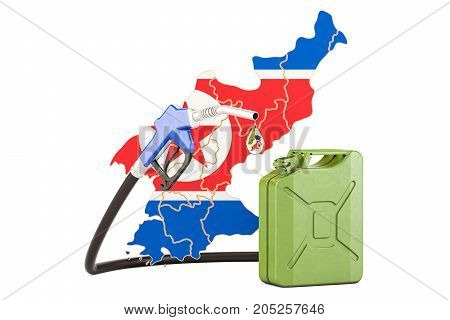 Production and trade of petrol in North Korea concept. 3D rendering isolated on white background
