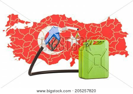 Production and trade of petrol in Turkey concept. 3D rendering isolated on white background