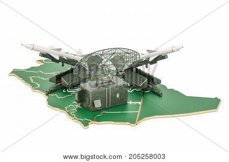 Saudi Arabia missile defence system concept 3D rendering