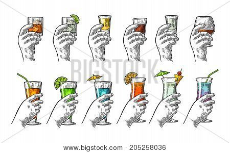 Female and male hand holding a glass with tequila vodka rum cognac whiskey gin cocktail. Vintage vector color engraving illustration for poster invitation to party. Isolated on white background