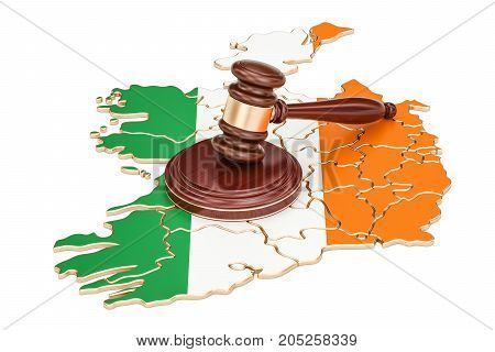 Wooden Gavel on map of Ireland 3D rendering isolated on white background