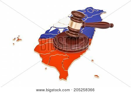 Wooden Gavel on map of Taiwan 3D rendering isolated on white background