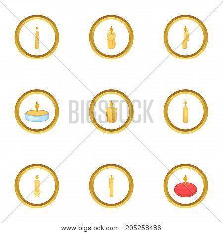 Burning candle icons set. Cartoon style set of 9 burning candle vector icons for web design