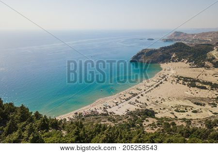 Aerial view of Tsampika beach, Rhodes island, Greece