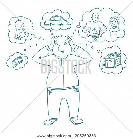 Confused man with problems. Hand drawn line art cartoon vector illustration.