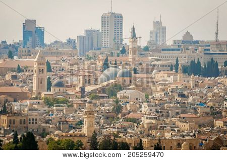 JERUSALEM, ISRAEL. September 15, 2017. A view of the Church of the Holy Sepulchre (gray domes) in the Old city of Jerusalem.