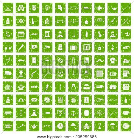 100 offence icons set in grunge style green color isolated on white background vector illustration