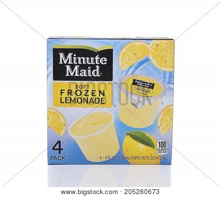 IRVINE CA - SEPTEMBER 22 2017: Minute Maid Soft Frozen Lemonade Cups. Minute Maid is a registered trademark of the Coca-Cola Company.