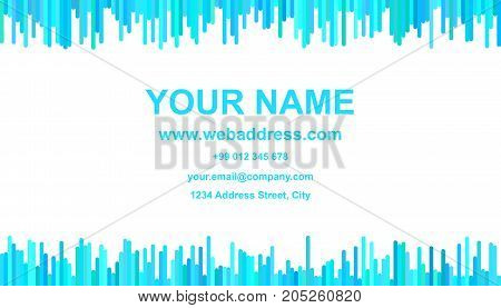 Business card template design - vector identity card graphic with vertical lines in light blue tones on white background